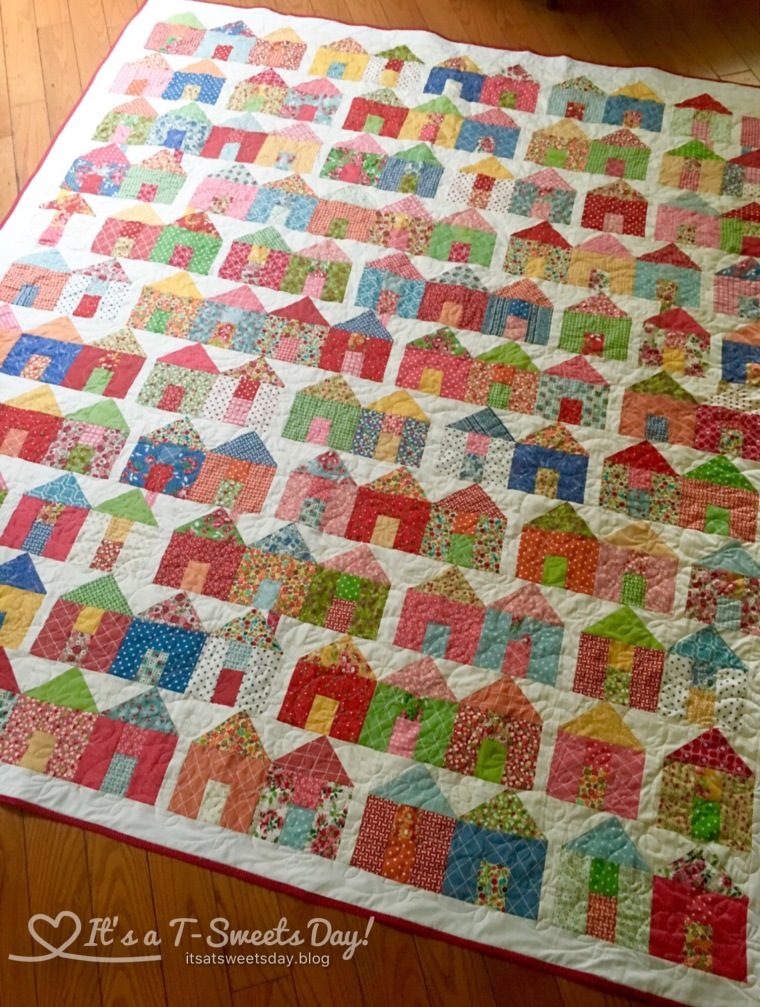 Village Quilt by Miss Rosie's Quilt Co. - This Quilt is so bright and colorful!